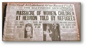The Baltimore News report of 1929 Hebron massacre, massacre of women, children at hebron, told by refugees.jpg